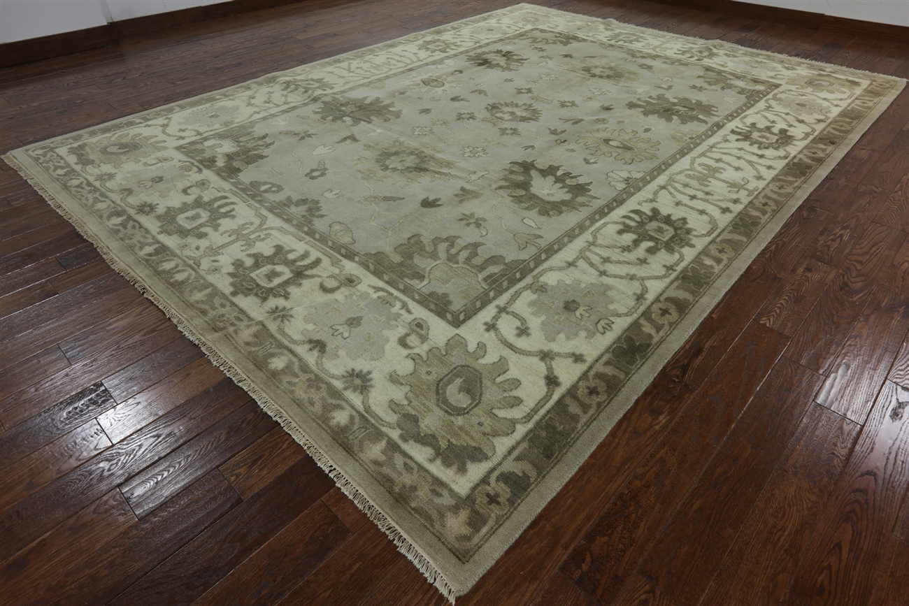 Grey 10 X14 Wool Hand Knotted Oushak Oriental Rug W730