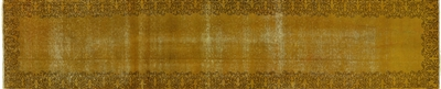 Gold Overdyed Runner Hand Knotted Rug
