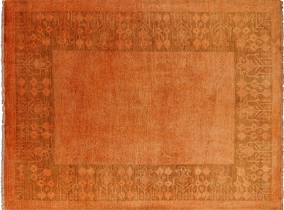 Persian Overdyed Full Pile Orange Hand Knotted Rug
