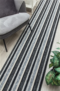 Alba Kitchen Hall Runner Mat Grey Black