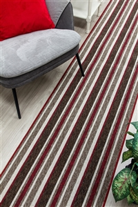 Alba Kitchen Hall Runner Mat Red Beige
