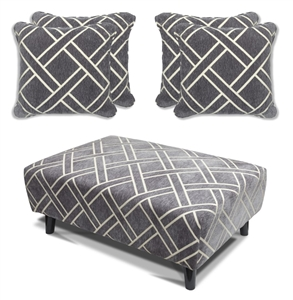 Cubana - Footstool & 4 Cushion Set - Grey