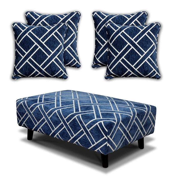 Cubana - Footstool & 4 Cushion Set - Navy