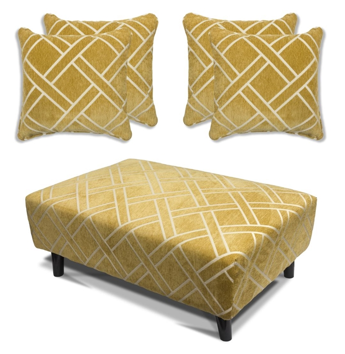 Cubana - Footstool & 4 Cushion Set - Ochre