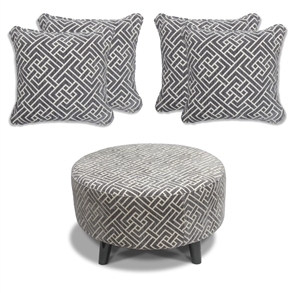 Flair - Footstool & 4 Cushion Set - Grey