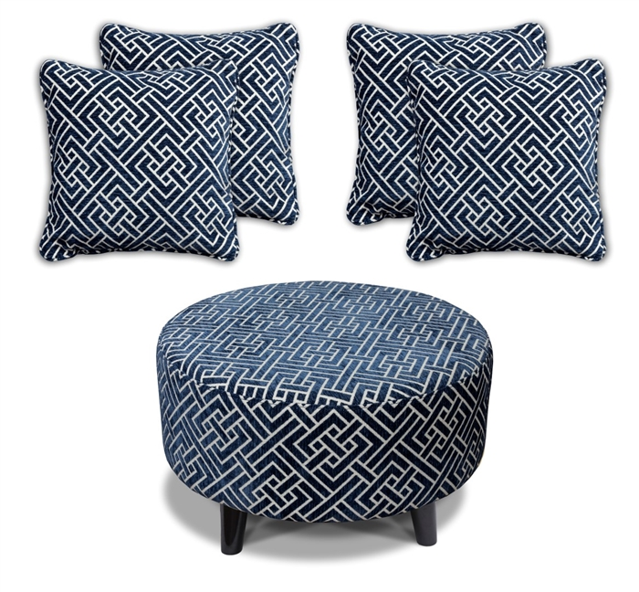Flair - Footstool & 4 Cushion Set - Navy