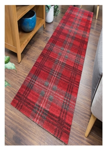 Glendale Tartan Runner Rug Gray Red