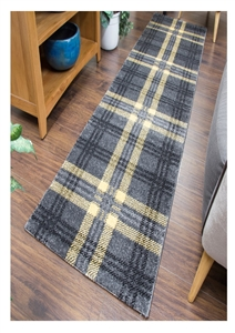 Glendale Tartan Runner Rug Grey Yellow