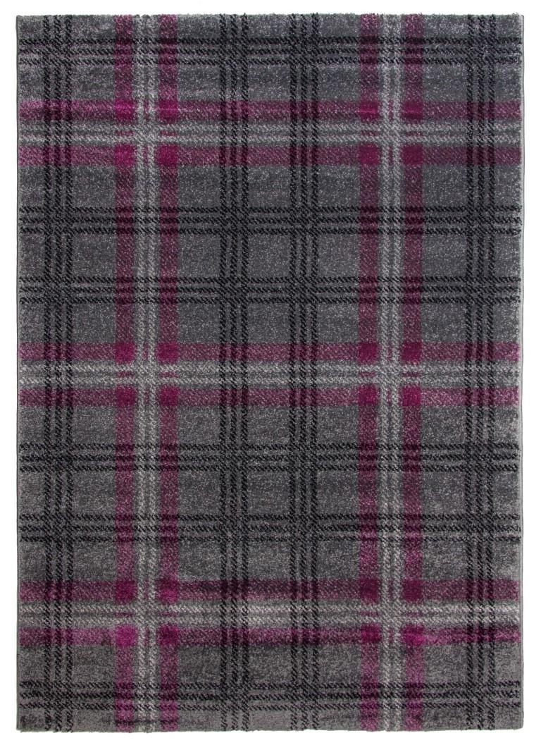 Glendale Tartan Modern Rug Gray Purple