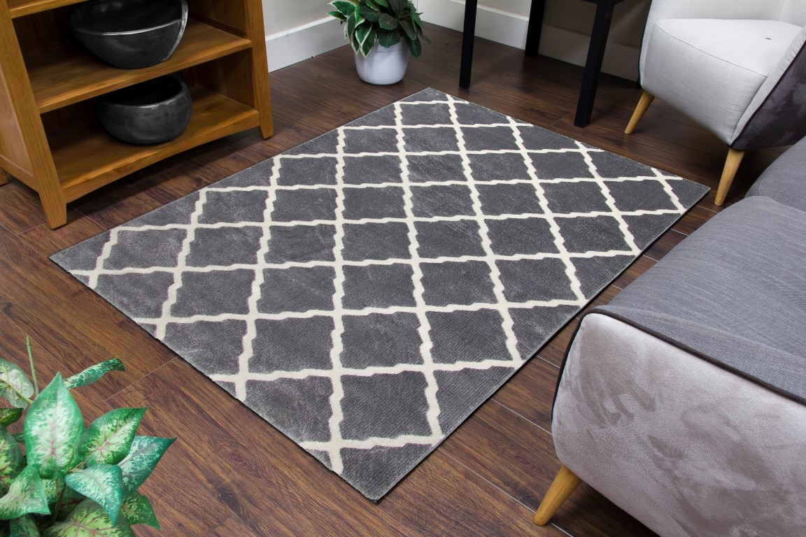 Toscana Lattice Geometric Rug Medium Grey