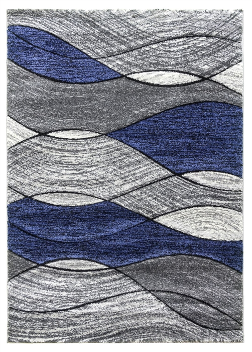 Impulse Waves Geometric Rug - Grey / Navy