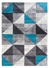 Impulse Triad Geometric Rug - Grey/Black/Teal