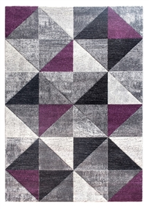 Impulse Triad Geometric Rug - Grey/Black/Purple