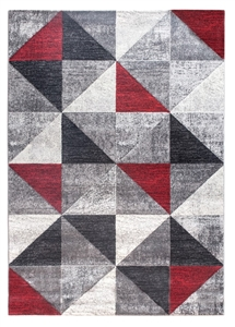 Impulse Triad Geometric Rug - Grey/Black/Red