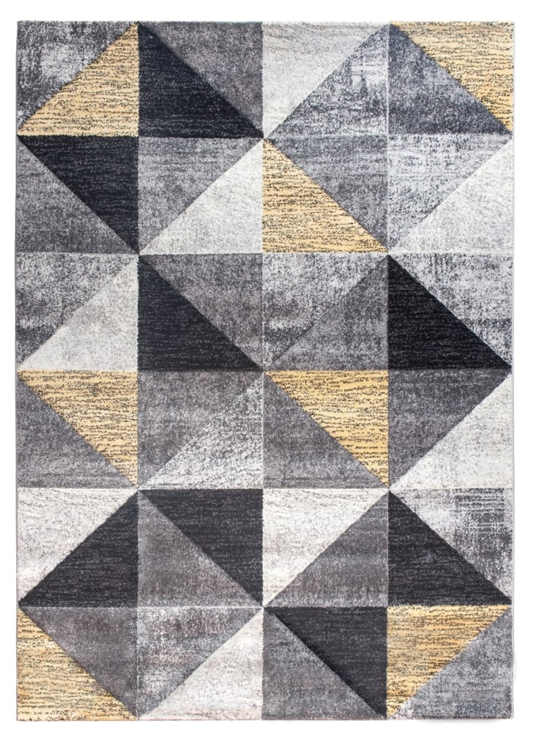 Impulse Triad Geometric Rug Grey Black Yellow