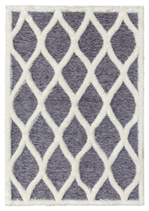 finesse tear drop high-low shaggy grey cream rug
