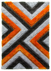 luxus-cascade-shaggy-rug-grey-orange