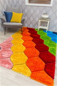 paradise-retro-3d-shaggy-rug-multicoloured