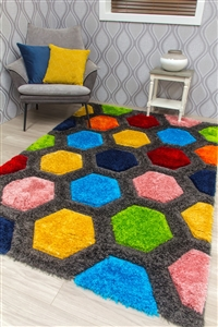 paradise-honeycomb-3d-shaggy-rug-multicoloured