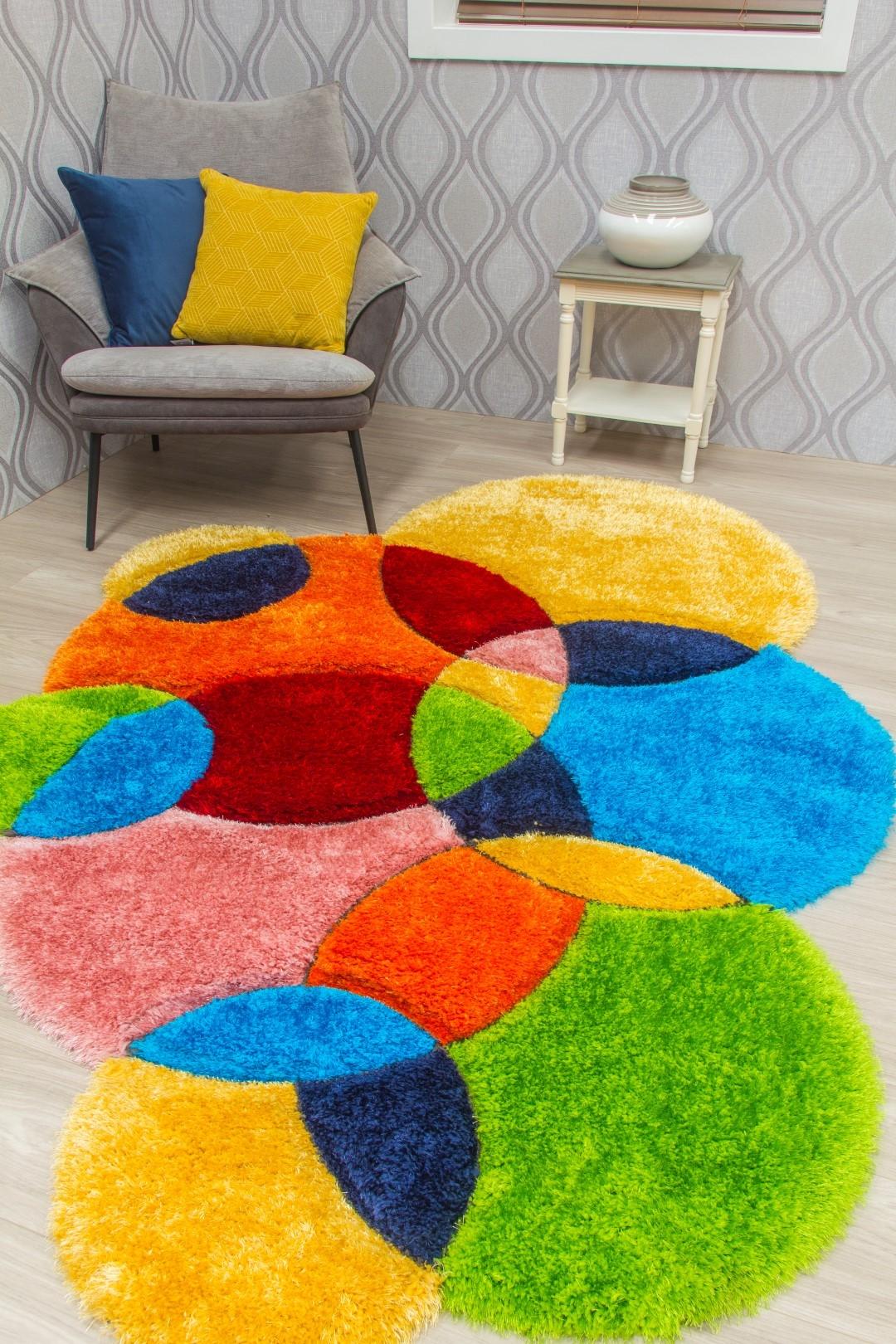 Doodle Bubbles - 3D Shaggy Rug - Multicolour