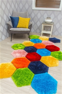 doodle-honeycomb-3d-shaggy-rug-multicoloured