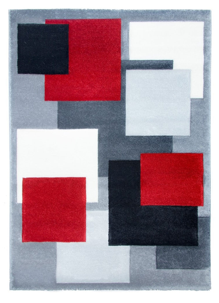 Superb Tempo Square Rug   Black/Grey/Red