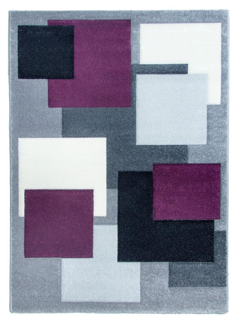 Tempo Square Rug Black Grey Purple