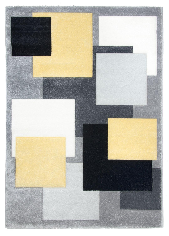Tempo Square Rug Black Grey Yellow