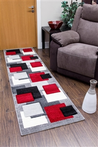 Tempo-squares-Runner Rug-Black-Red