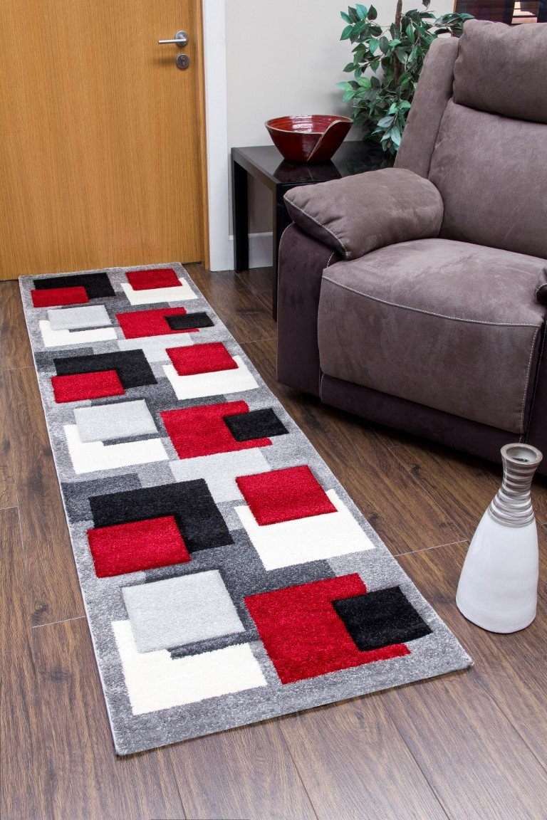 Tempo Squares Runner Rug Black Grey Red