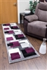 Tempo-squares-Runner Rug-Black-Purple
