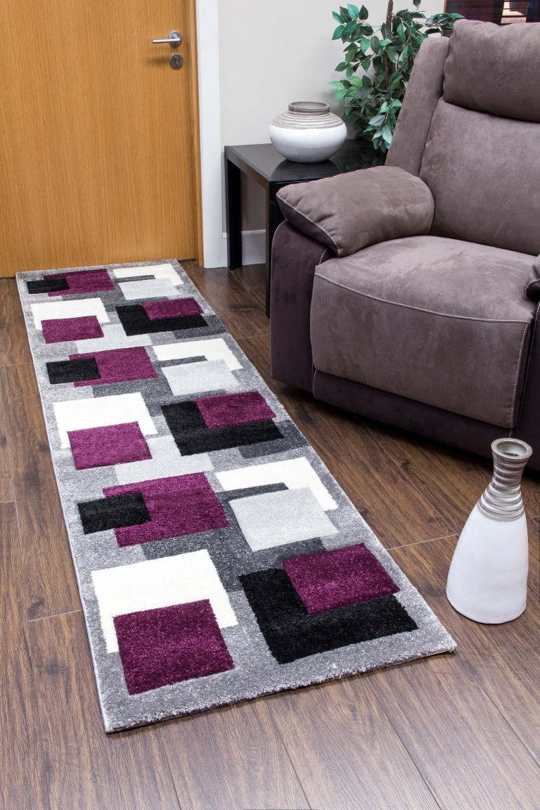 Tempo Squares Runner Rug Black Purple