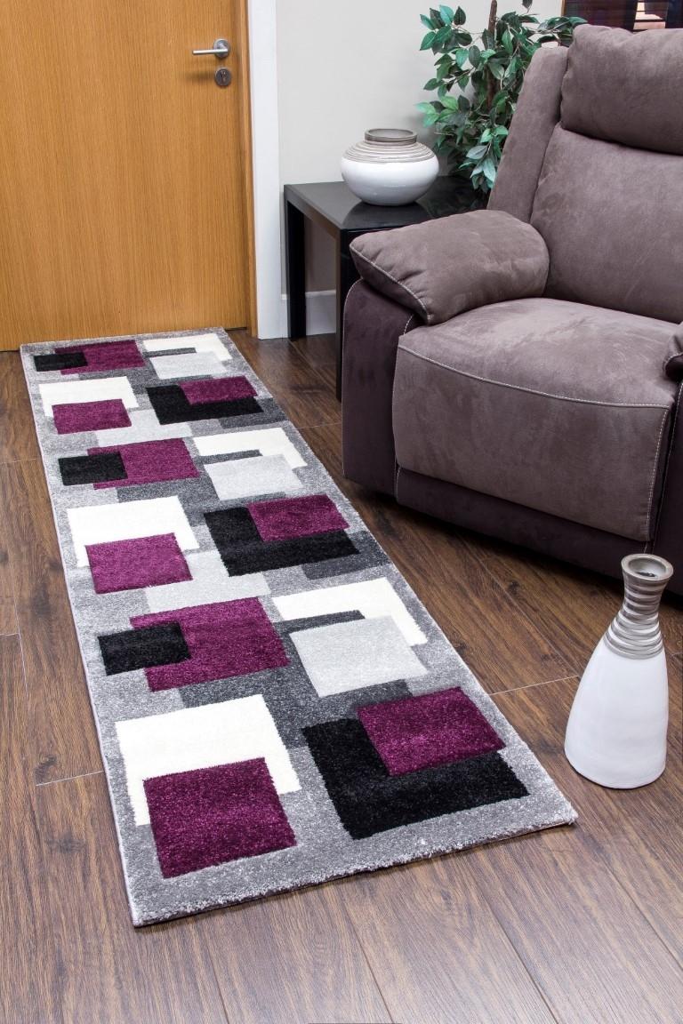 tempo squares runner rug - black/purple