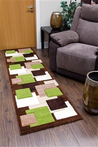 Tempo-squares-Runner Rug-Brown-Green