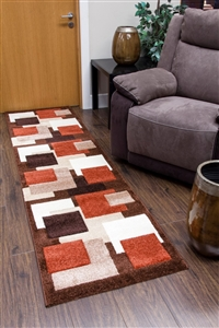 Tempo-squares-Runner Rug-Brown-Terra