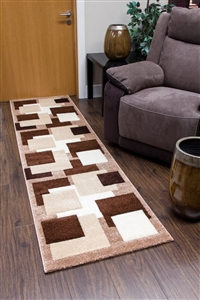 Tempo-squares-Runner Rug-Brown-Beige