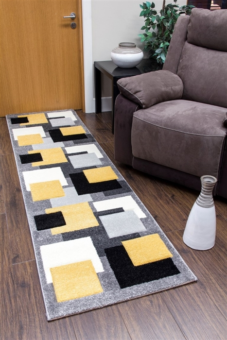 Tempo-squares-Runner Rug-Black-Yellow