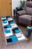 Tempo-squares-Runner Rug-Black-Teal