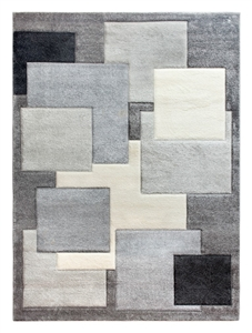 Tempo Square Rug - Black/Grey
