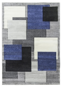 Tempo Square Rug - Black/Grey/Blue