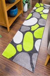 Pebbles Runner Rug Green Gray