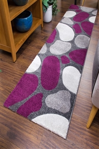 Pebbles Runner Rug Purple Gray
