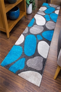 Pebbles Runner Rug Teal Gray
