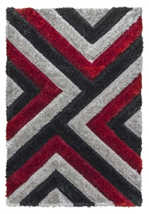 luxus-cascade-shaggy-rug-grey-red