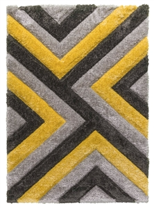 luxus-cascade-shaggy-rug-grey-yellow