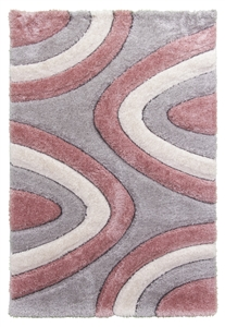 luxus-ripple-shaggy-rug-pink-grey-cream