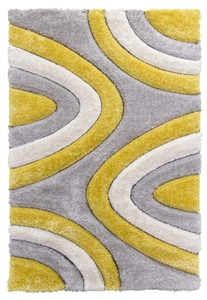 luxus-ripple-shaggy-rug-yellow-grey-cream