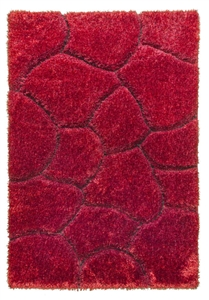 luxus-stones-shaggy-rug-red