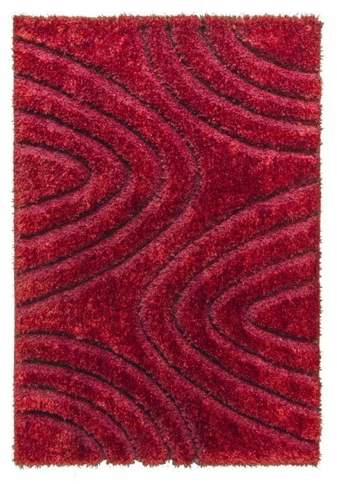 luxus-ripple-shaggy-rug-red