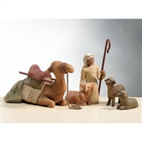 Willow Tree Shepherd With Stable Animals Nativity Figurines